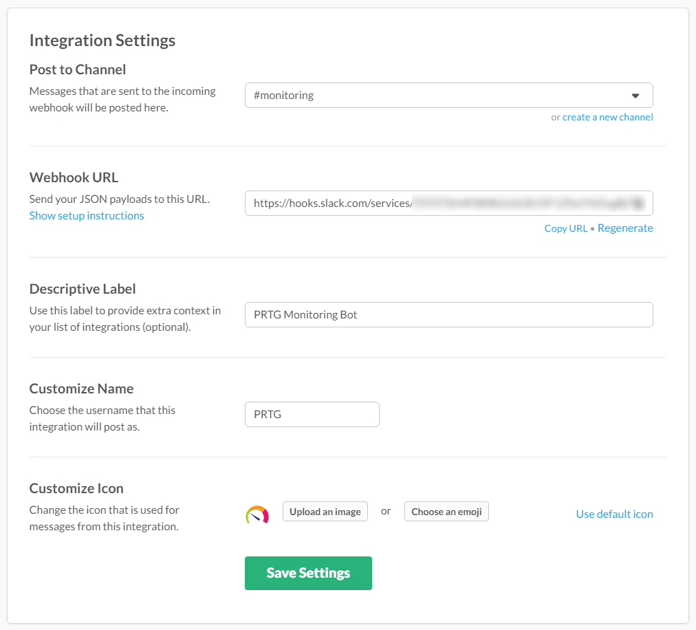 Webhook Integration Settings