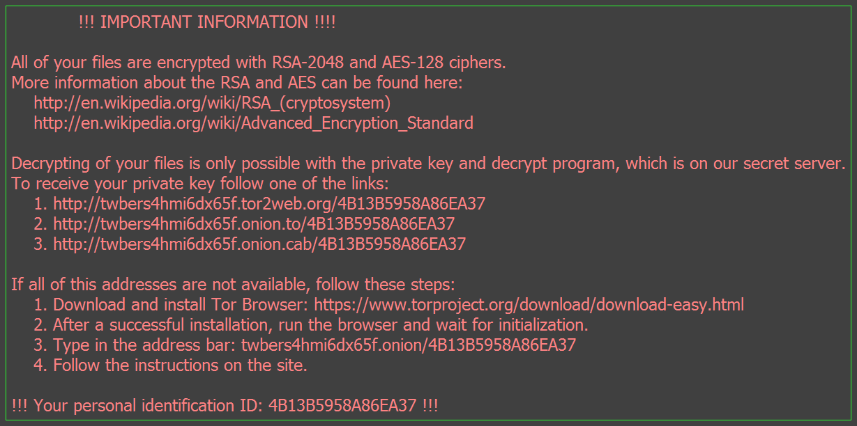 Sample Ransom Message