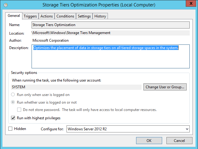 Windows Server 2012 R2 Tiering Scheduled Task