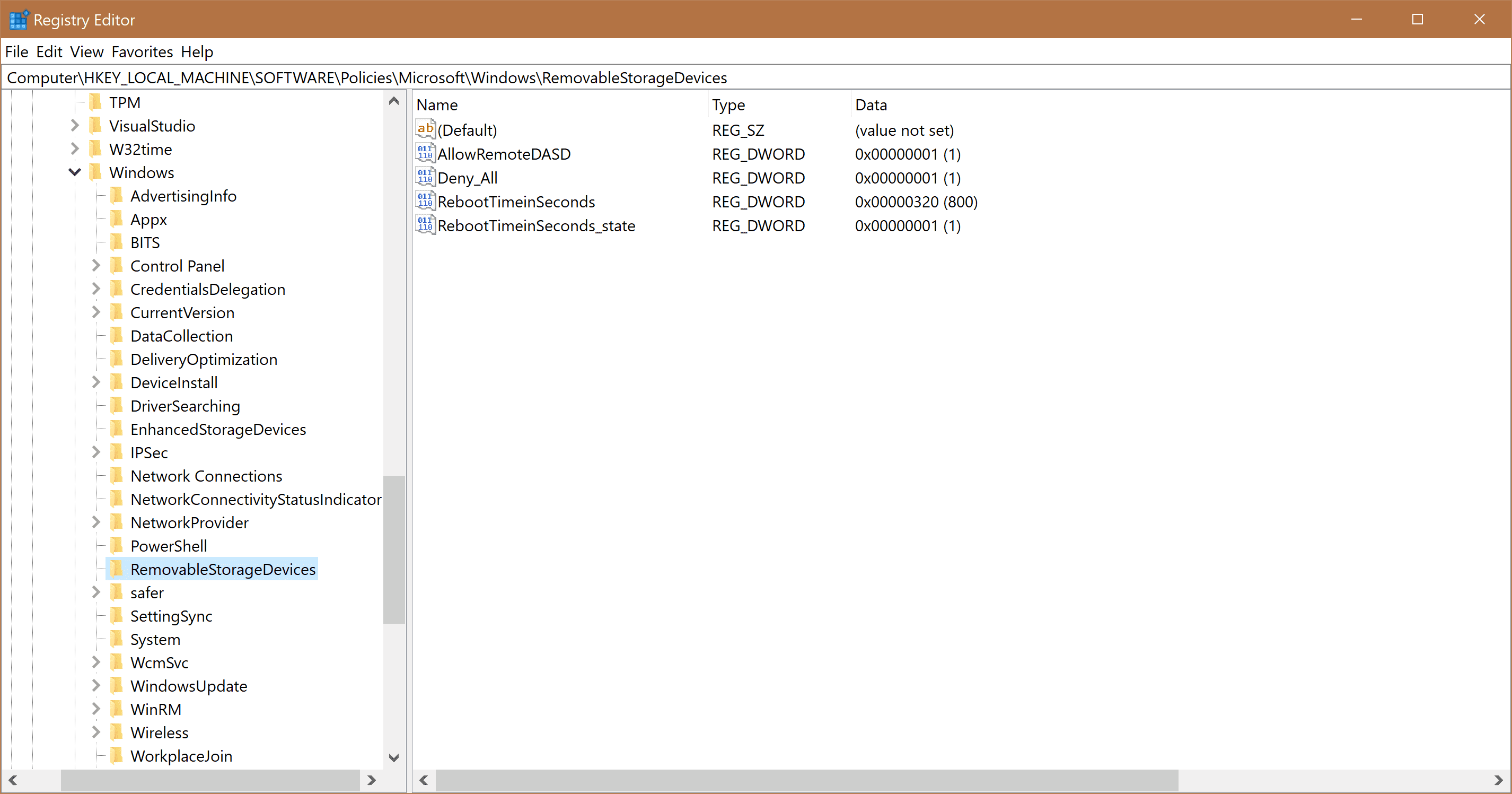 Policy Keys in the Registry Editor